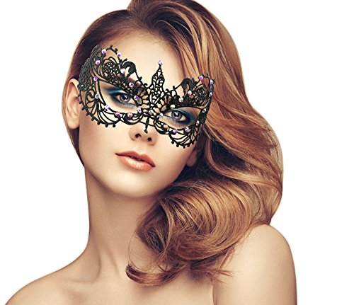 Mens Masks For Masquerade Ball (Sparkly Rhinestones Lace Masquerade Mask (Sparkly Rhinestones/Venetian/Butterfly))