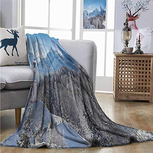 Homrkey Warm Microfiber All Season Blanket Winter Snowy Bavaran Alps with Maria Gern with Famous Watzmann Massif Scenes from Germany Huge Blanket W60 xL91 Blue White