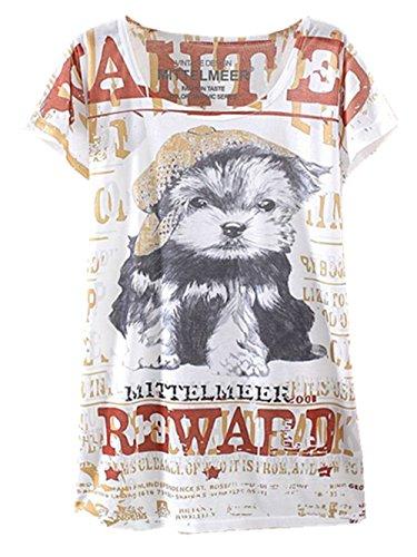 Thin Casual T Cami Shirt Girls Shirt Printed Blouse Wear 13 Tops Tees YICHUN Leisure White Women Tunic xzXqx6E