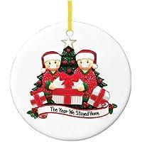 OLOPE Christmas Ornaments 2020 Quarantine Survivor Family Customized Christmas Decorating Kits Creative Gift for Family, Christmas Party Decoration 1-7 Family Members (1Pcs, A Family of 2)