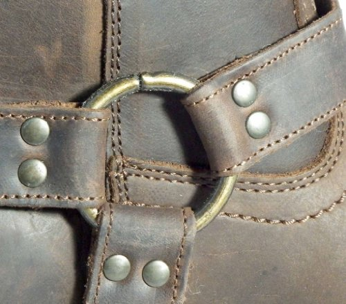 Dark Cowboy Western Harness inch Ukayed Brown Boots Biker On Men's Leather 11 Pull qqP8Y