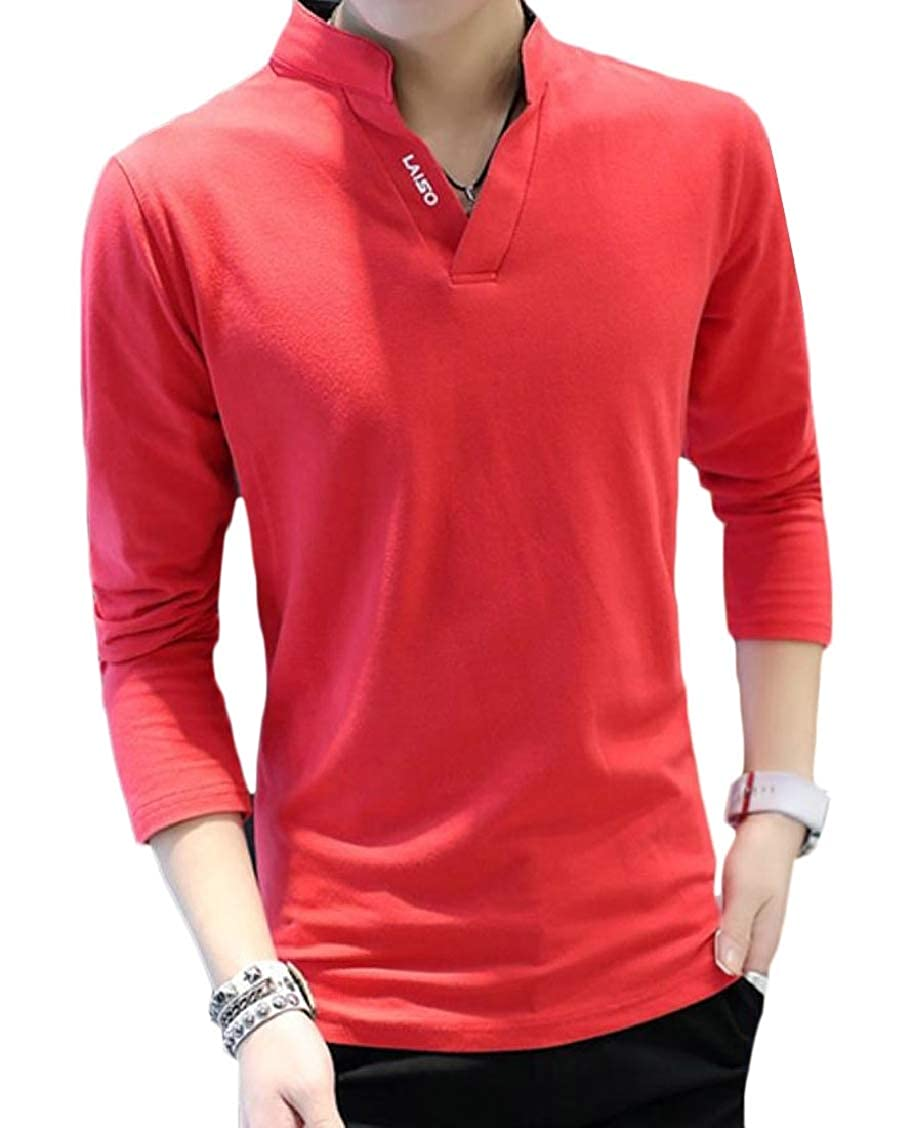 Hajotrawa Men Long Sleeve V-Neck Tops Loose Polo-Shirt Shirt Tees