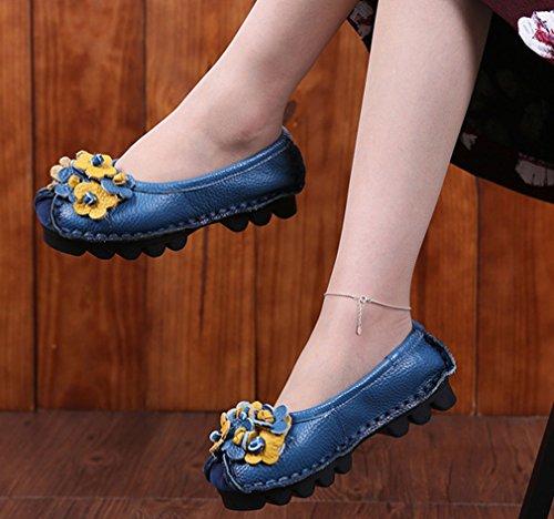 Soojun Femmes Mocassins En Cuir De Vachette Chaussures Plates Slip-ons Style 1 Bleu