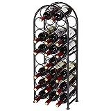 SortWise ® 23 Bottles Metal Arched Free-Standing Floor Wine Holder Racks with 4 Adjustable Foot Pads, Black