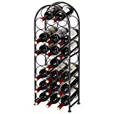 SortWise 23 Bottles Metal Arched Free-Standing Floor Wine Holder Racks with 4 Adjustable Foot Pads, Black