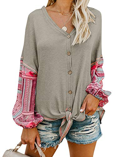 5306e701d79 Valphsio Womens Boho Long Sleeve Henley Shirt V Neck Front Tie Button Down  Patchwork Blouse Tops
