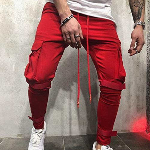 Men's Joggers Sweatpants Ankola Men's Active Sports Running Workout Pant with Pockets Casual Trouser (XXXL, Red) by Ankola-Men's Pants (Image #3)