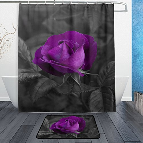 ALAZA Set of 2 Purple Flower 60 X 72 Inches Shower Curtain and Mat Set, Rose Floral Waterproof Fabric Bathroom Curtain and Rug Set with Hooks ()