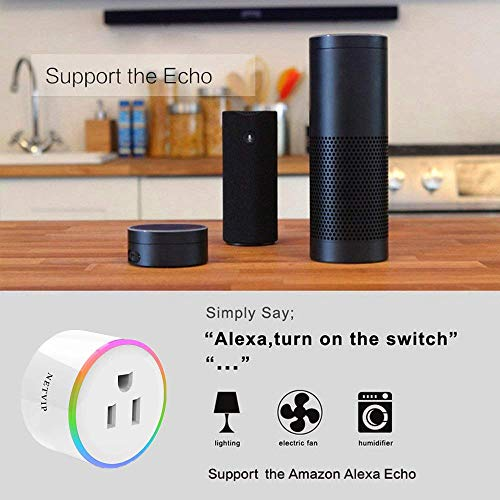 WiFi Smart Plug Compatible with Amazon Alexa Google Home IFTTT for Voice  Control, Wireless Mini Socket with RGB light, Remote Control Your Home