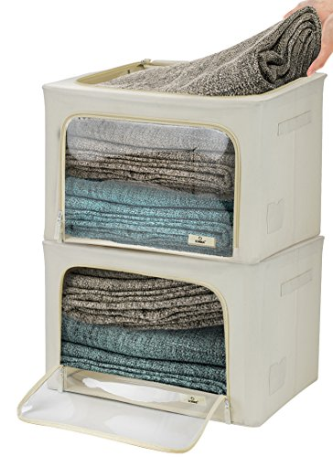Storage Designer Box (Sorbus Storage Bins Boxes, Foldable Stackable Container Organizer Basket Set with Large Clear Window & Carry Handles, For Comforters, Blankets, Linens, Clothes,etc (Window Storage Bag - 2 Pack, Beige))