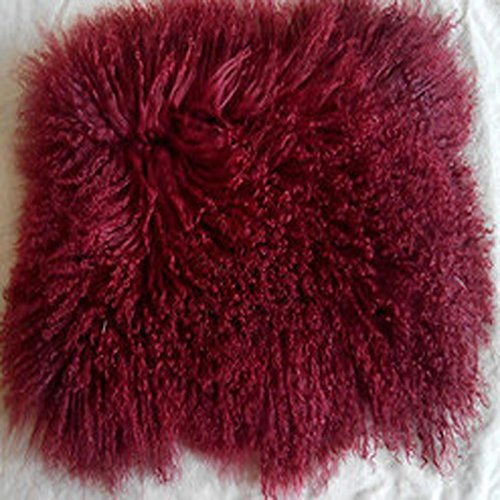 Real Red Mongolian Tibetan Lamb Fur Pillow Cushion Cover (24''x24'')