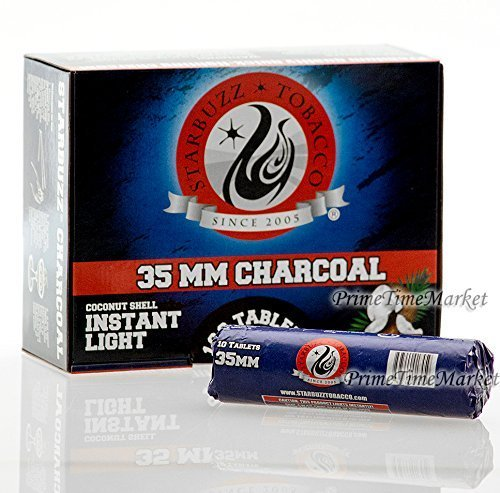 Starbuzz Charcoal 100 Pieces Quick Instant Light Coconut Shell Hookah Shisha Coal Fast Lite Medium Size 35 MM Box
