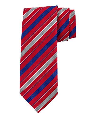 (Robert Jensen Finest Silk Handmade Men's Neck Tie - Mogador - Multi-stripe (Red))