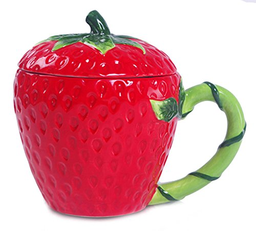 Strawberry Ceramic - Ceramic Strawberry Shape Handwork Fruit Coffee Mug Water Teacup with Lid