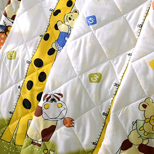 KFZ Summer Quilt Comforter Bedspread for Bed Breathable BDD 4 Sizes With Cartoon Animals Rabbit Giraffe Bear Pretty Flamingo Designs For Children Adult One Piece (Giraffe Bear,Yellow, (Care Bears Quilt Squares)