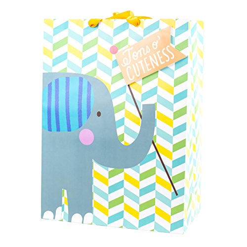 Hallmark Oversized Gift Bag for Baby Showers, New Parents and More (Elephant)]()