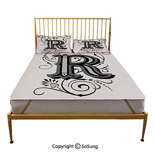 (Letter R Creative Full Size Summer Cool Mat,Baroque Antique R Typography with Old Fashion English Aristocratic Swirls Decorative Sleeping & Play Cool Mat,Black Grey White)