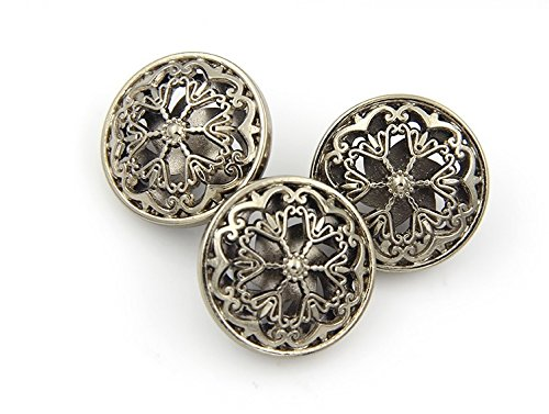 Metal Flower Buttons (Flower Hollow Metal Shank Buttons for Fashion Coats (Gun black/Silver/Gold/Tea gold, Pack of 6) (0.98 inches, Tea gold))