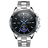 LONGBO Men's Unique Big Face Dial Analog Quartz Business Watch Military Waterproof Stainless Steel Band Wrist Watch Special Blue Hands Decorative Chrono Eyes Sport Watches for Man Black