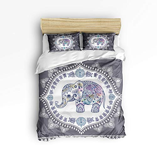 EZON-CH Soft Duvet Cover Sets Children Bed Sets for Girls Boys,Retro Elephant Animal Pattern Bedding Sets,Include 1 Comforter Cover with 2 Pillow Cases Twin Size