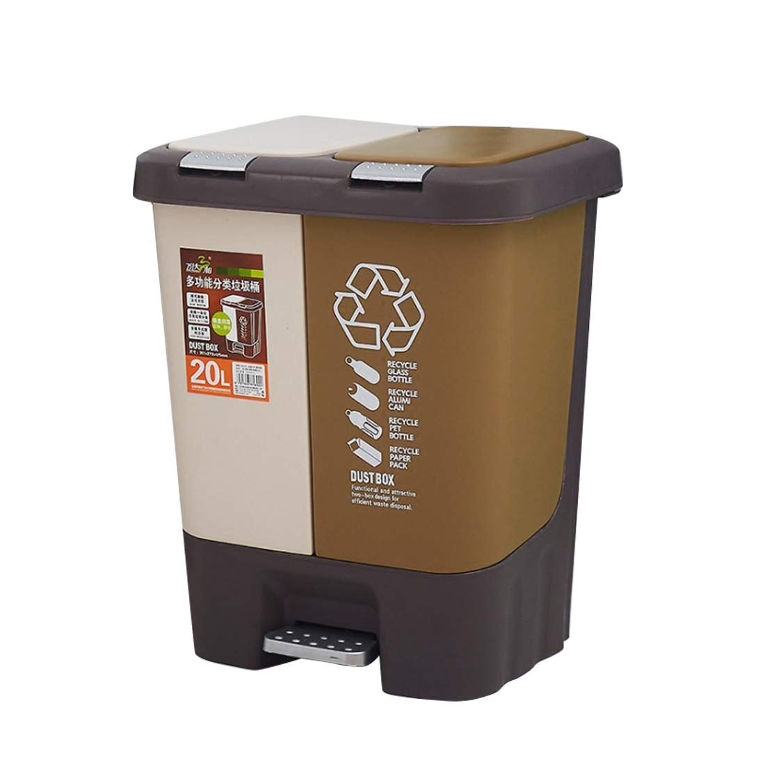 Haoun Classified Trash can,20 Liter/ 5.28 Gallon Double-Layer Garbage Can with Lid Foot Pedal Waste Bin Push Plastic Trash Can for Kitchen Office