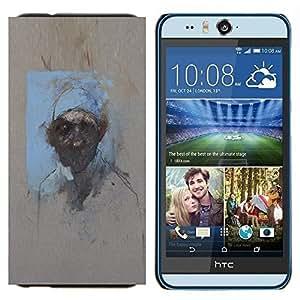 KLONGSHOP // Cubierta de piel con cierre a presión Shell trasero duro de goma Protección Caso - Pintura Acuarela Arte Hombre - HTC Desire Eye M910x //