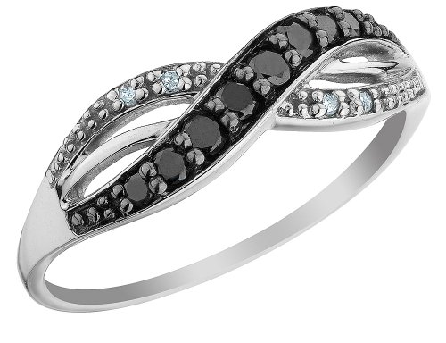 White and Black Diamond Ring 1/5 Carat (ctw) in 10K White Gold, Size 8.5
