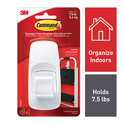 Command 17004 Jumbo Plastic Hook with Adhesive Strips, 1 Hook 4 Strips from Command
