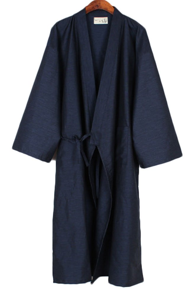 Soojun Men/Women Japanese Kimono Robe Cotton Pajamas, Style 1 Navy, Men US Medium(Tag L)
