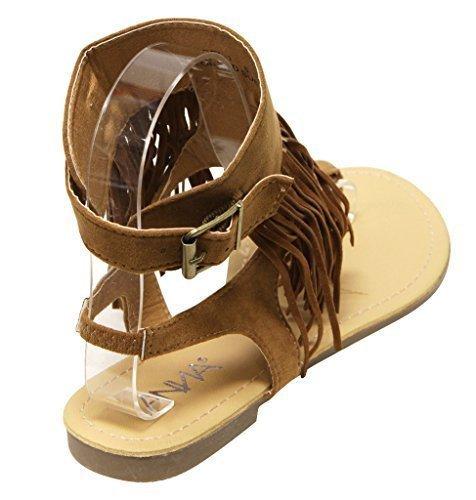 ANNA Rebel-1 Women's Slingback Buckled Ankle Strap Fringe Suede Thong Sandals Tan 9