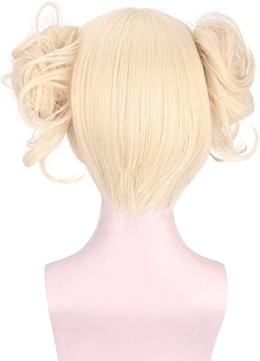 Anime My Hero Academia Himiko Toga Party Cosplay Wig Blonde 2 Buns Short Wigs