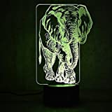 3D Africa Elephant lamp Night Light Touch Table Desk Optical Illusion Lamps 7 Color Changing Lights Home Decoration Xmas Birthday Gift
