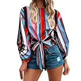 VIASA Women Fashion Summer Long Sleeve Sexy Patchwork T-Shirt Loose Blouse Casual Tops (S, Multicolor)