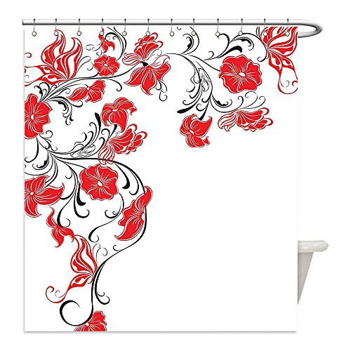 Liguo88 Custom Waterproof Bathroom Shower Curtain Polyester Red and Black Japanese Asian Decor Flowers Swirls Ivy and Leaves Butterflies Image Scarlet and White Decorative bathroom