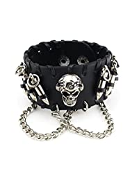 Skull Chain Leather Bangle Bracelet Men Adjustable Punk Gothic Handmade Leather Rope Bullets Wristband Bracelet, Punk Rock Wide Leather Strap Bracelet Bullet Chain Wristband Snap Adjustable