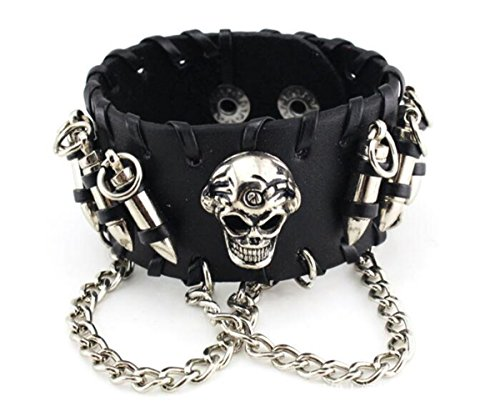 Skull Chain Leather Bangle Bracelet Men Adjustable Punk Gothic Handmade Leather Rope Bullets Wristband Bracelet, Punk Rock Wide Black Leather Strap Bracelet Bullet Chain Wristband Snap Adjustable