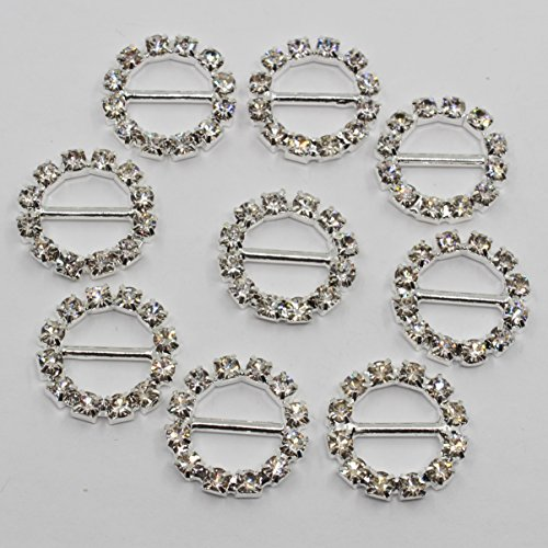 - Lkeran 35pc 16mm Round Shaped Silver Crystal Clear Rhinestones Buckle Flatback Shiny Silver Buckles Invitation Card Wedding Ribbon Slider Gift Box Crafts Hair Accessories Christmas Bag Shoes Buckle