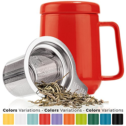 Large Tea Mugs - Tealyra - Peak Ceramic Red Tea Cup Infuser - 19-ounce - Large Tea High-Fired Ceramic Mug with Lid and Stainless Steel Infuser - Tea-For-One Perfect Set for Office and Home Uses - 580 milliliter