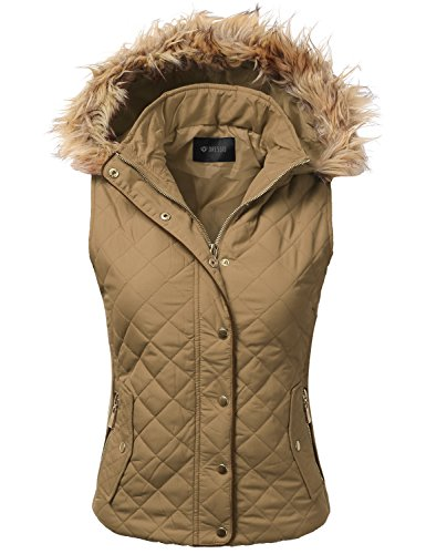 DRESSIS Womens Quilted Fur Hoodie Padding Vest CAMEL M (Hooded Womens Vest)