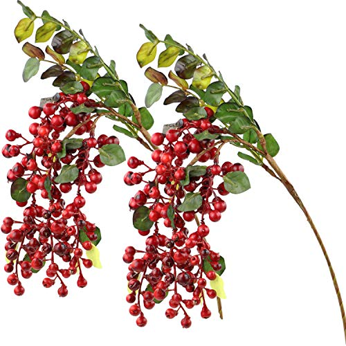 Rinlong Artificial Holly Berries Hanging Spray Red 2pcs Fake Berries Flowers Arrangement Xmas Home Wedding Décor