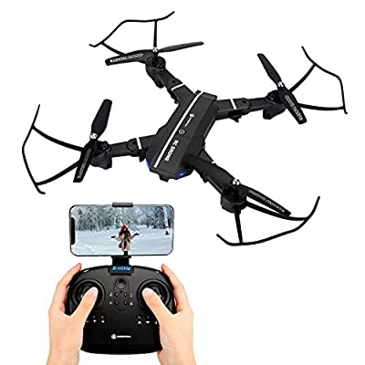 Quadcopter Drone with 720P HD WIFI Camera RTF 4 Channel 2.4GHz 6 Axis with Altitude Hold Function,Headless Mode and One Key Return Home Foldable RC DRONE by Zillion Associates