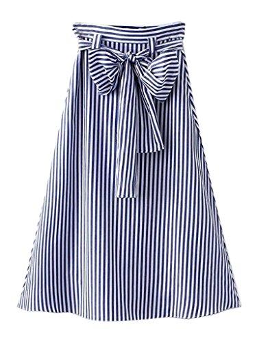 [CR Women's Blue Stripes Print Bowknot Waist Midi A-line Skirt] (A-line Side Zip Skirt)