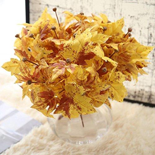YLCOYO Flowers, Artificial Fake Leaf Silver Maple Leaf Simulation Leaves Wedding Home Decor