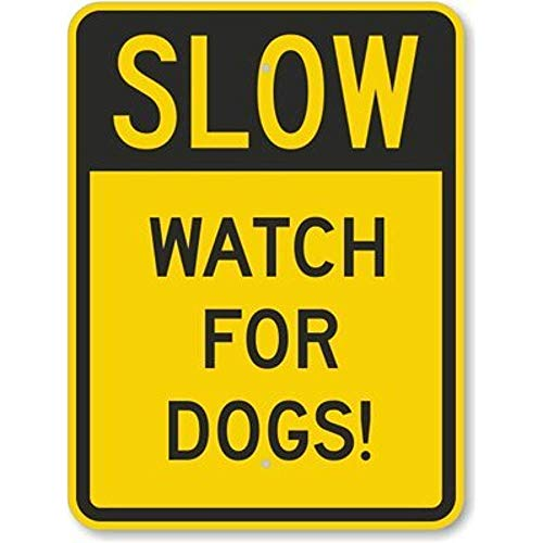 Jesiceny New Road Sign Slow - Watch for Dogs!, Fluorescent Yellow Diamond Grade Aluminum Metal Tin Sign Street Sign 8x12 INCH