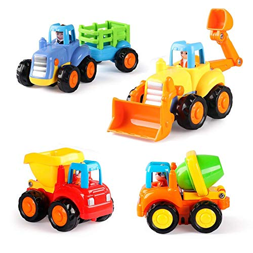 Push and Go Cars Construction Vehicles Toys Set For 1 2 3 Year Old Boy Girl Toddlers Baby - Early Education Gift - 4 Trucks Of Tractor,Bulldozer,Cement Mixer,Dumper - Safe Durable And entertaining
