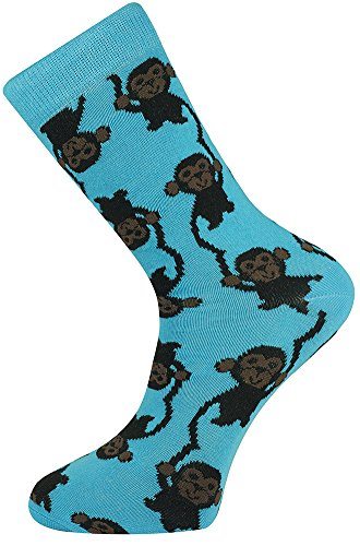 Mysocks Crew Socks Monkey Design Monkey Design Blue