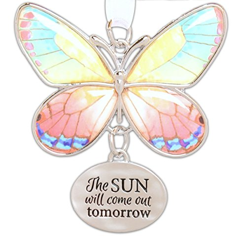 Addict Ornament - Ganz 2 Beautiful Zinc Butterfly Ornament with Sentiment Featuring White Organza Ribbon for Hanging (The Sun Will Come out Tomorrow)