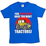 Fancy A Snuggle You Can Never Have Too Many Tractors Big Yellow Farm Kids Boys T-Shirt Royal Blue 9-11 Year Old