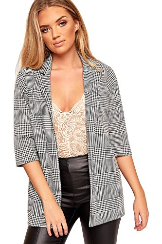 WearAll Women's Houndstooth Multi Check Print Long Sleeve Open Blazer Top Jacket - Black White - US 8 (UK 12) (White Houndstooth Check)