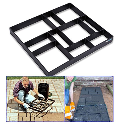 Estink Garden Concrete Paving Mold,DIY Driveway Pathmate Stone Mold For Pavement Walkways Outdoor Improvements,10 Grid 17.7